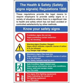 Safety Signs & Signals Regulations Poster Rigid Plastic 400x600mm